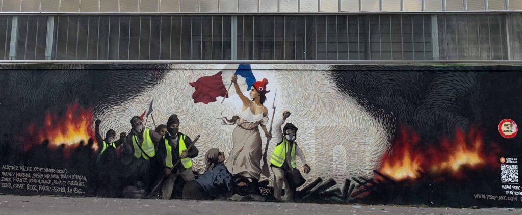 Gilets jaunes fresque Paris 19e, Copyright Cheep